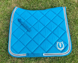 Turquoise dressage pad with crystals