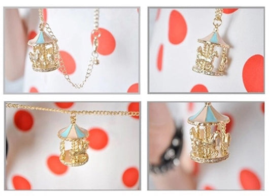 Gold horse carousel necklace