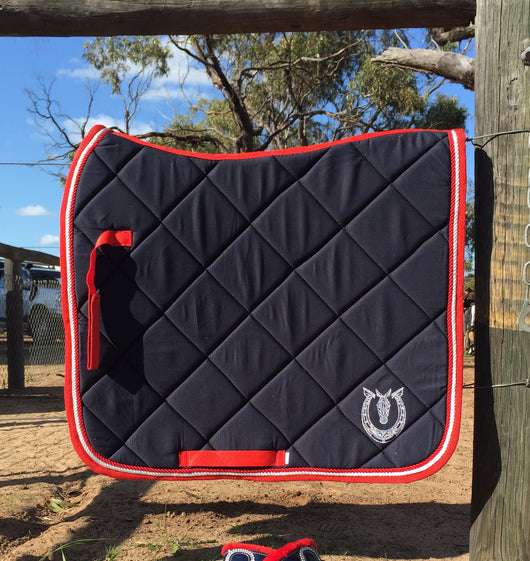 Navy and red dressage pad