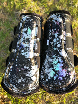 Black holographic flake boots