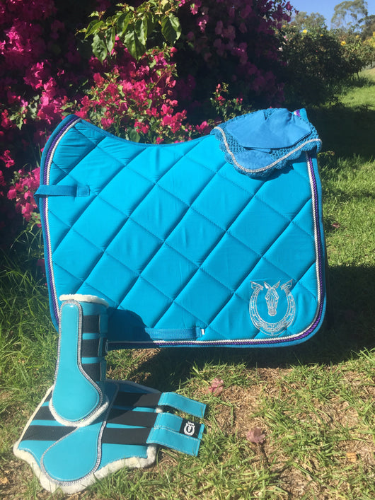 TURQUOISE with purple and white trim dressage pad