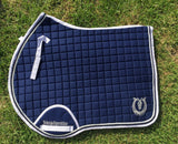Navy blue and white jump pad