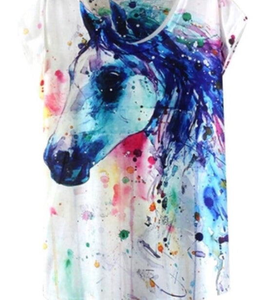 Watercolour Horse printed tee