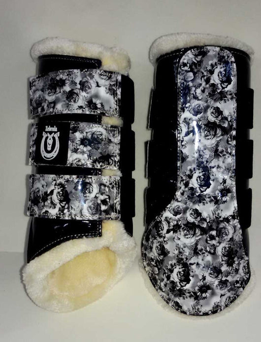 Black floral brushing boots