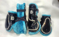 Black with turquoise trim jump boots