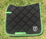 Black and green dressage pad