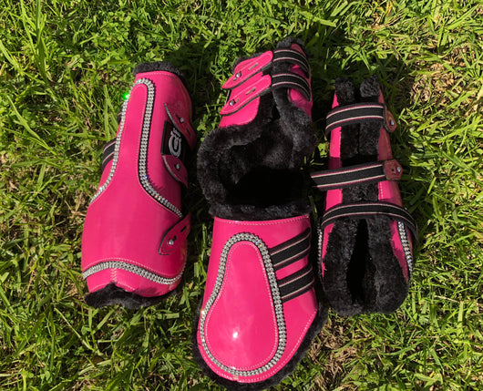 Hot pink tendon and fetlock boots with BLACK faux fur lining