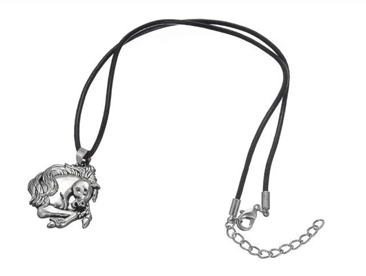 Leather necklace with silver horse head