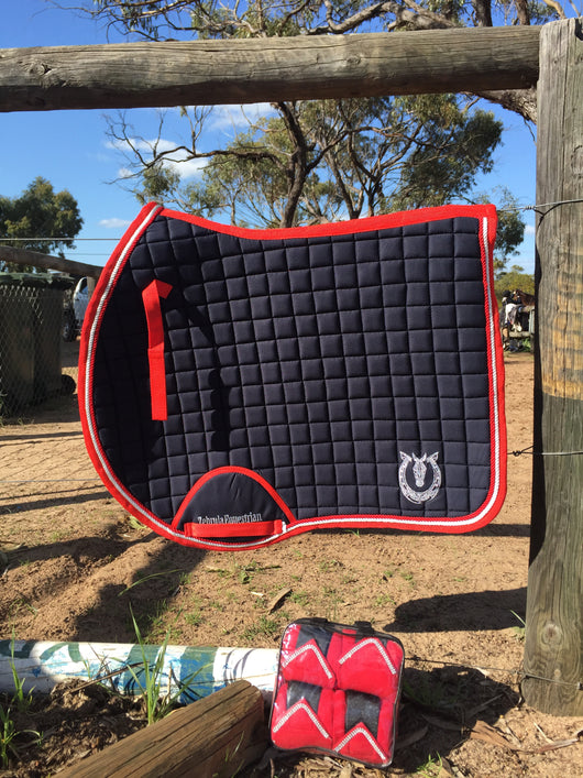 Red and navy euro cut jump pad