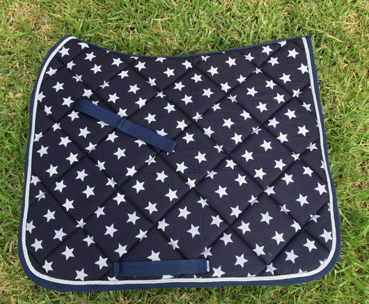 Navy blue and white star dressage pad