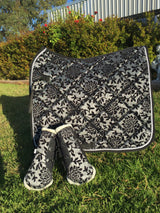 "Black and silver ""vintage"" dressage pad"