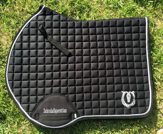 Black with silver trim jump pad