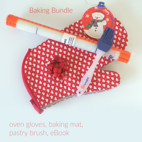 Baking Bundle: Baking Mat, Pastry Brush, Oven Gloves, eBook