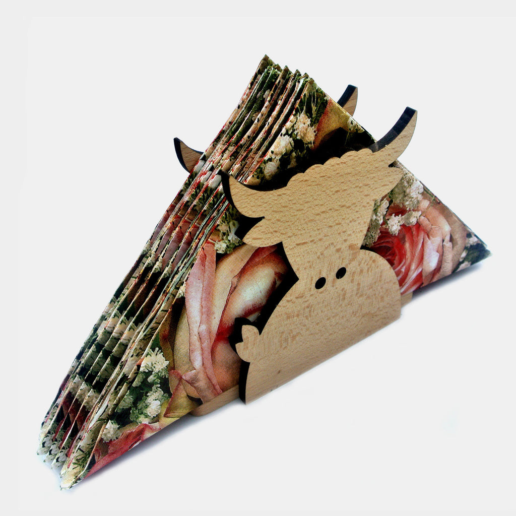 Wooden Napkin Holder - Highland Cow