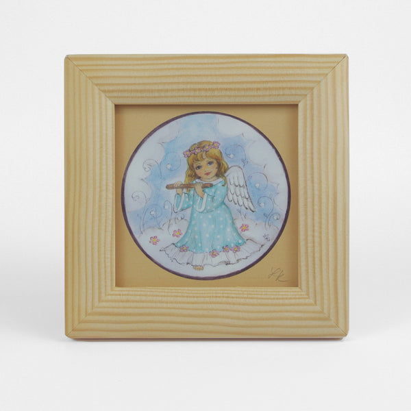 Small Vintage Angel Picture In Wooden Frame With Clear Glass - Playing Flute