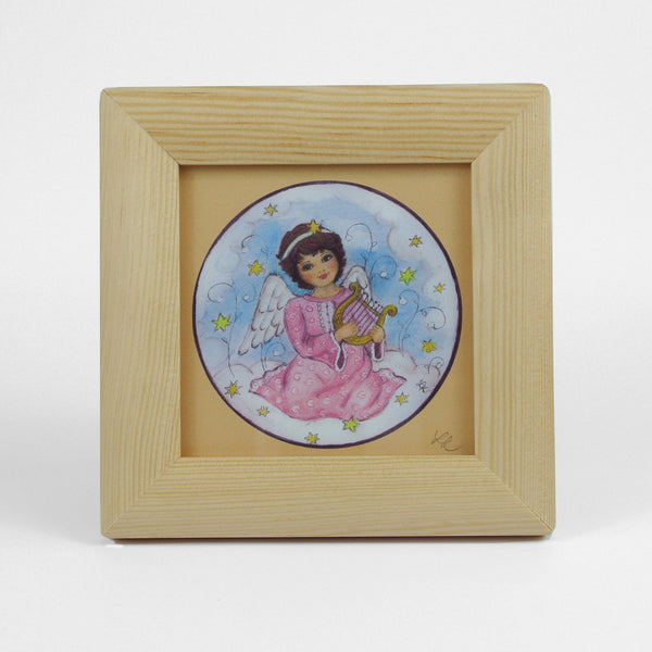 Small Vintage Angel Picture In Wooden Frame With Glass - Playing Harp