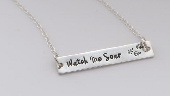 silver bar necklace personalised