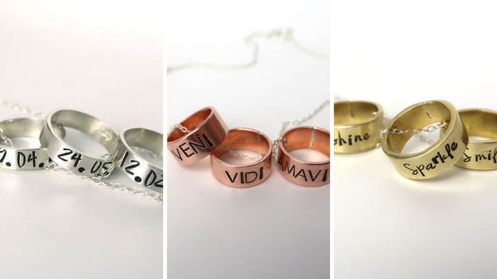personalised ring charm necklaces