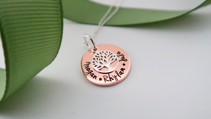 personalised mixed metal family tree necklace made in wales uk by elfen hardd