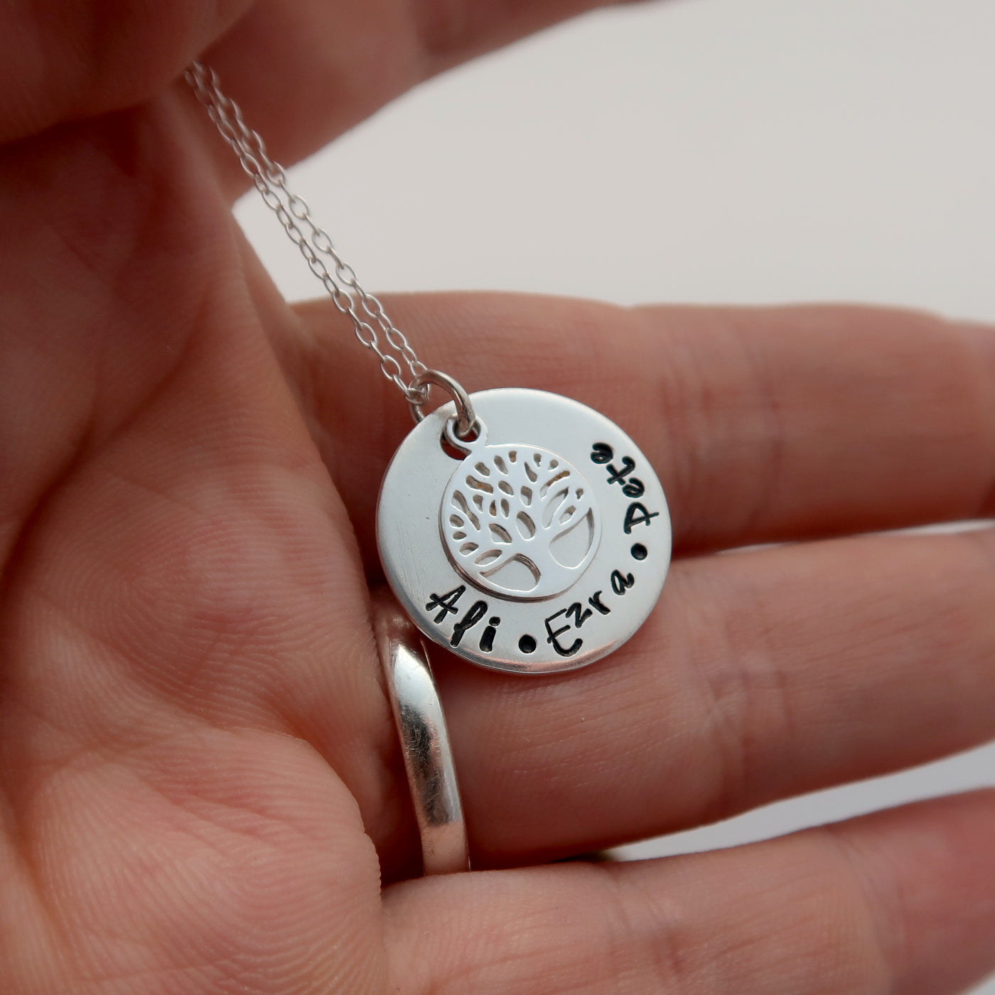 personalised family tree necklace in sterling silver wales uk