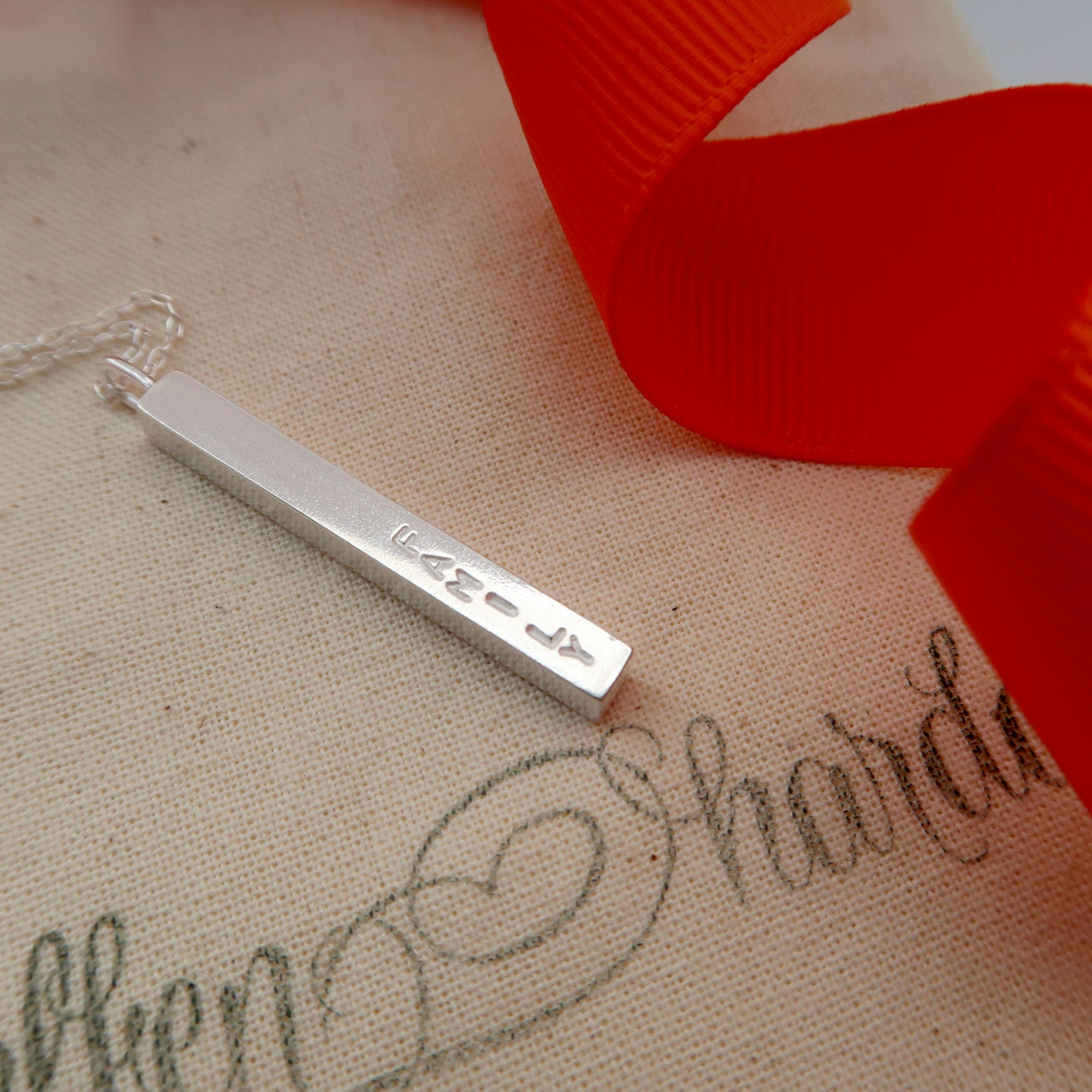personalised silver bar necklace wales uk elfen hardd