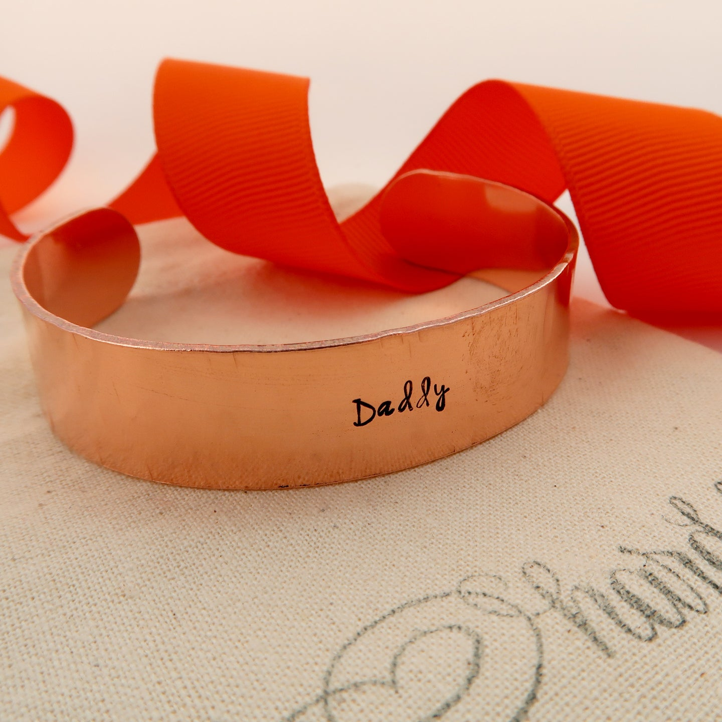 personalised copper cuff bracelet made in wales uk by elfen hardd