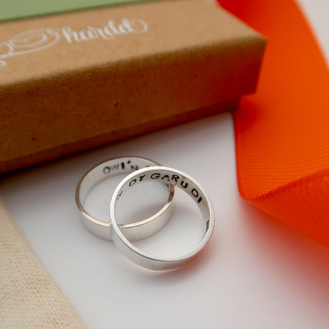 personalised quote couple rings in silver