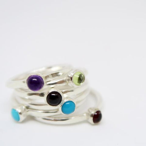 gemstone cabochon rings in silver