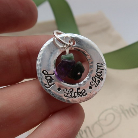 custom bespoke mother's necklace with birthstones