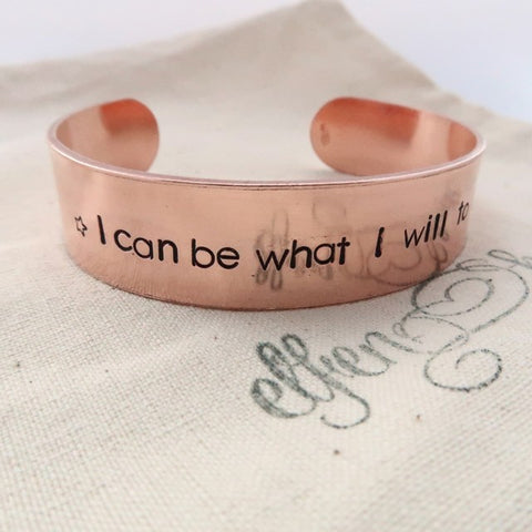 copper cuff bracelet with mantra