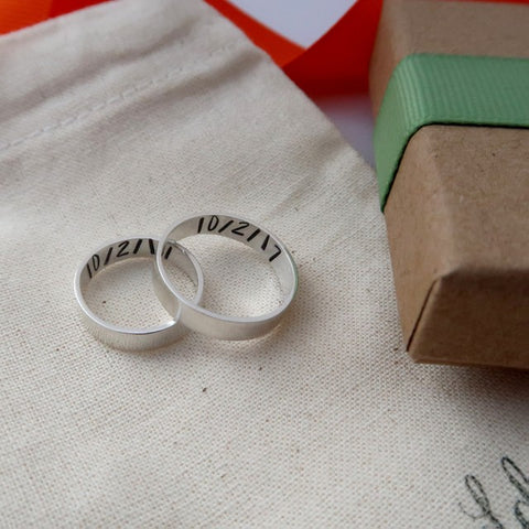 personalised couple rings silver with dates inside