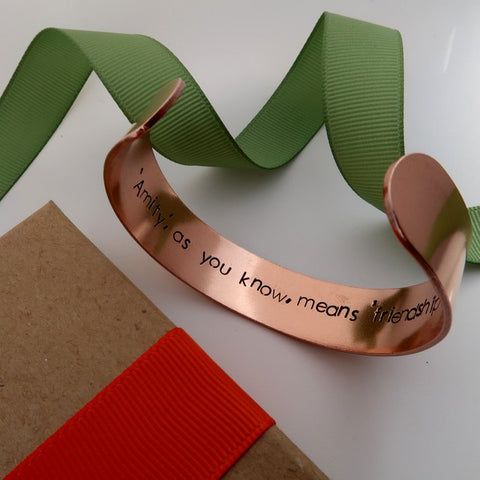 copper cuff with movie quote