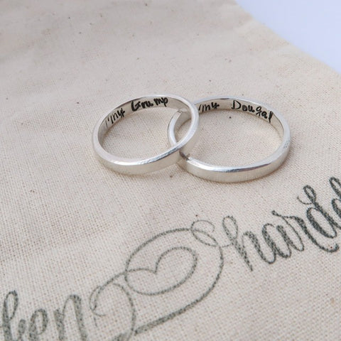 silver couple rings personalised with pet names