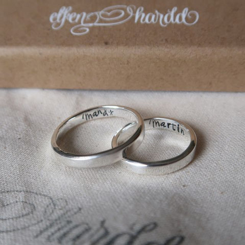 couple rings silver personalised with names inside