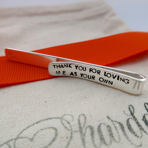 thank you personalised silver tie bar