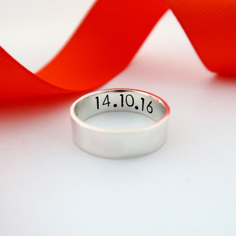 wide band silver ring personalised secret message for him jewellery uk