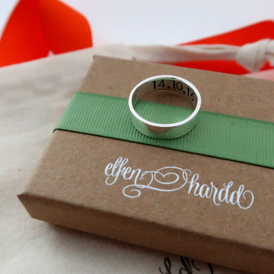 Personalised Silver Wide Band Ring