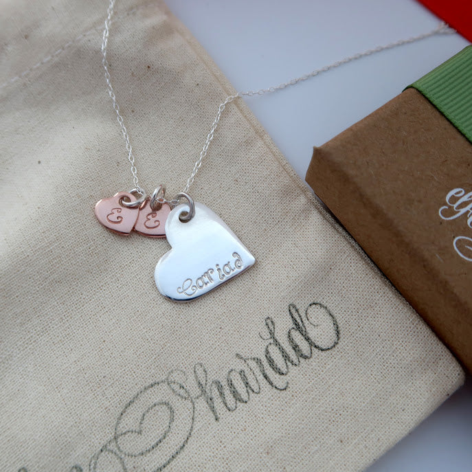 Personalised Mixed Metal Heart Necklace