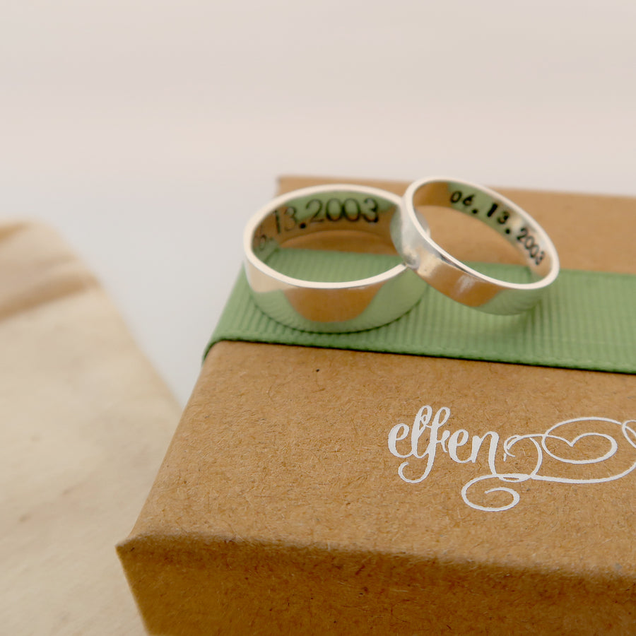 Personalised Silver His & Her Rings