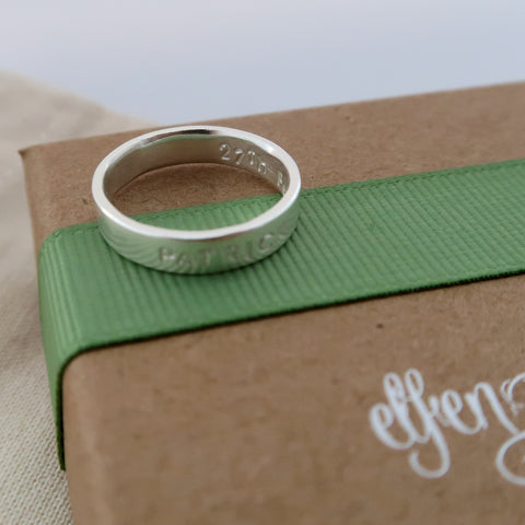 secret message ring sterling silver personalised by  elfen hardd