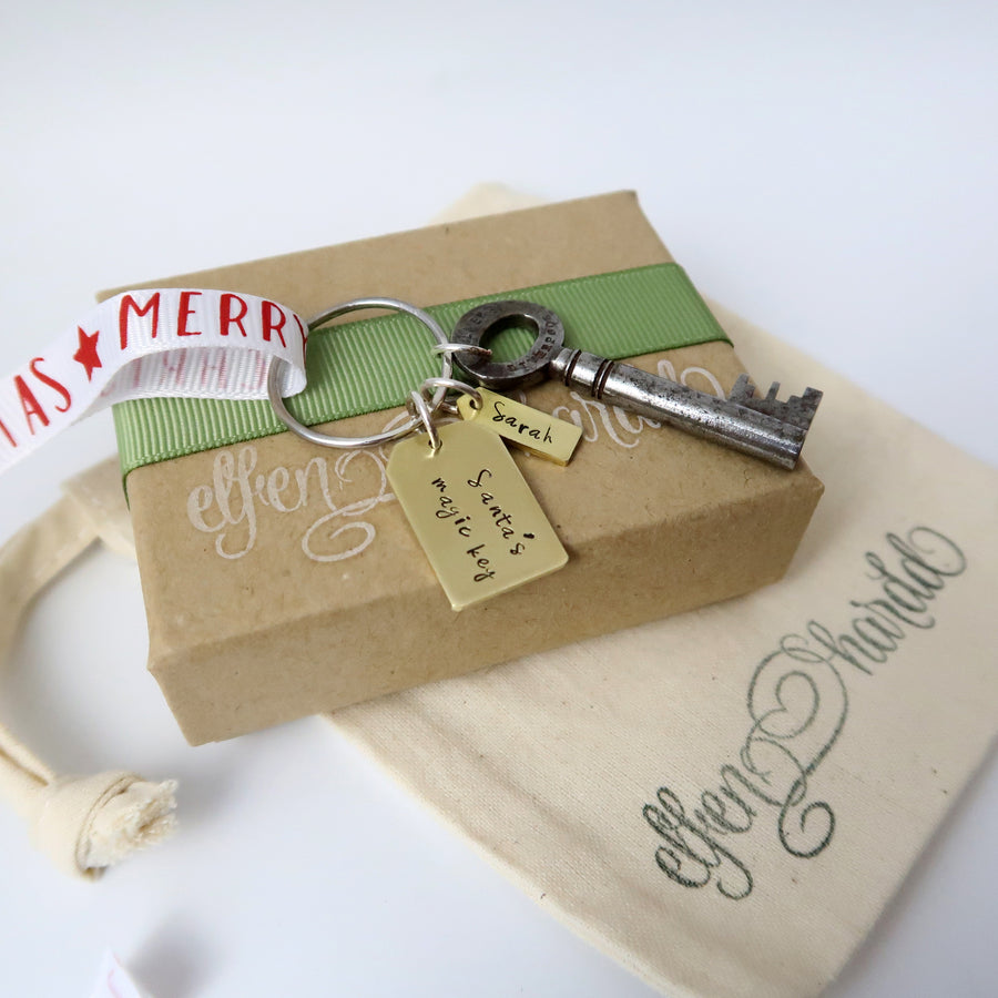Personalised Santa Keys with Brass tags and gift box
