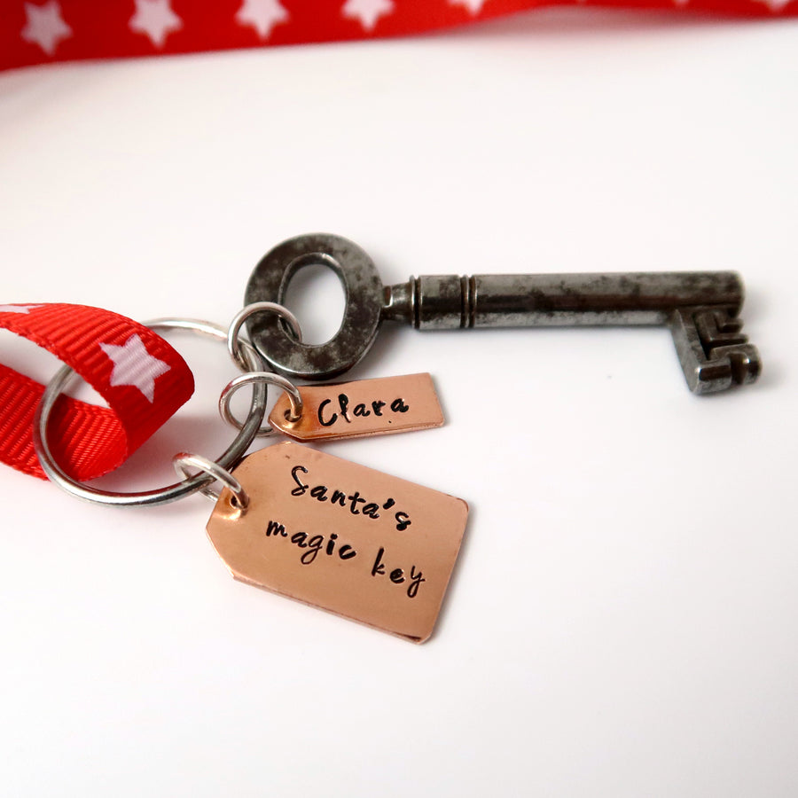 Santa Key with Copper Tags on white