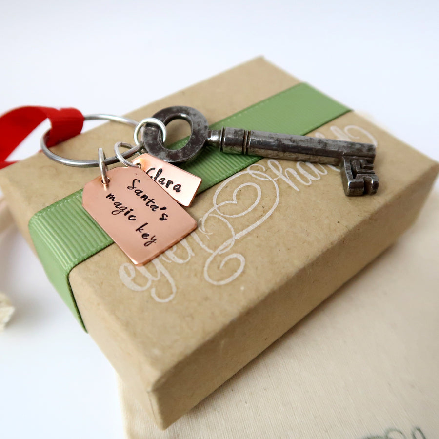Personalised Santa Key with Copper Tags with gift box