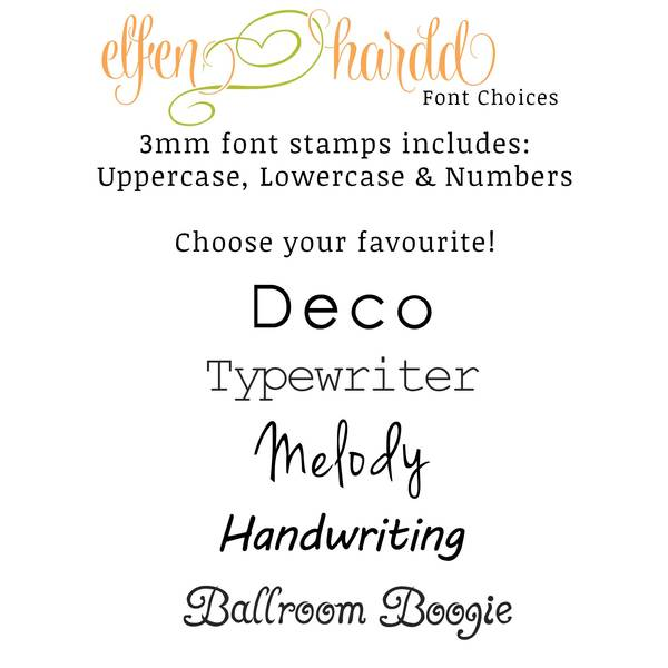 fonts available to personalise