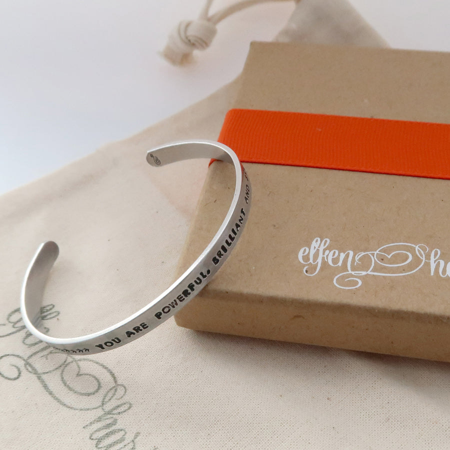 slim personalised aluminium cuff bracelet with gift packaging