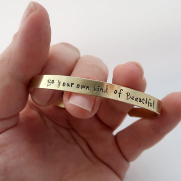 for scale, slim personalised brass cuff bracelet