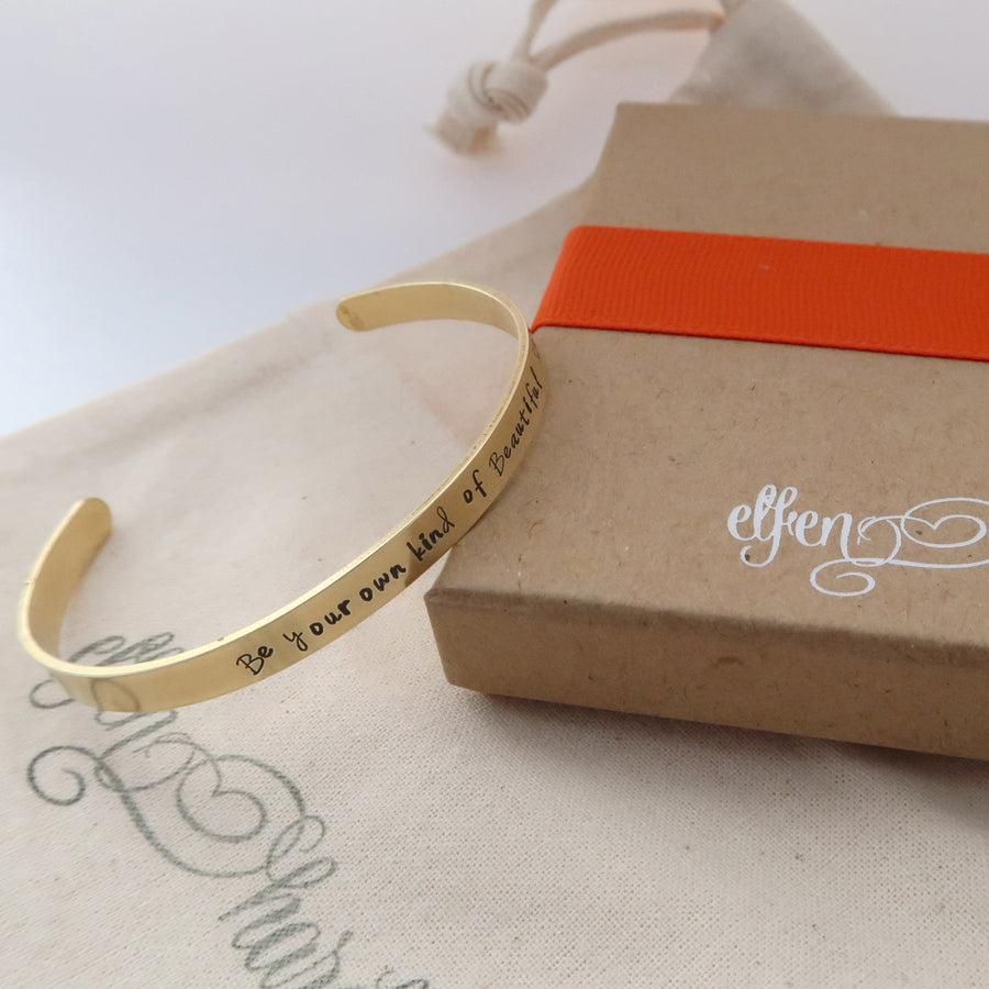 slim personalised brass cuff bracelet with gift packaging