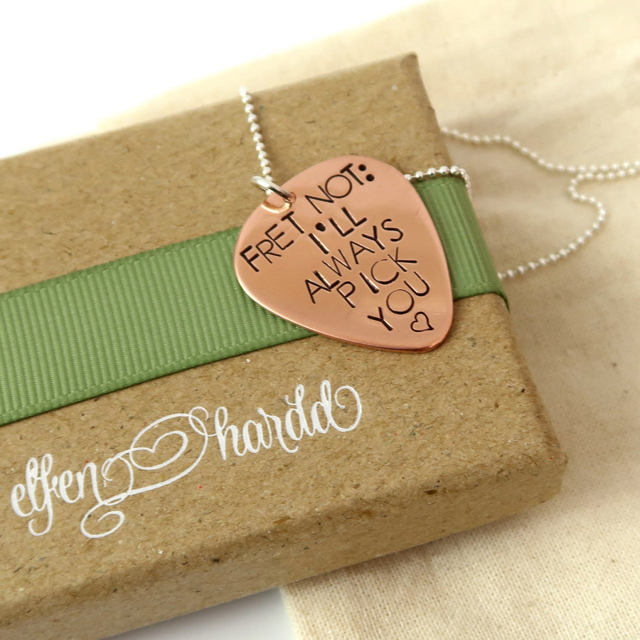 Personalised Copper Guitar Pick Necklace