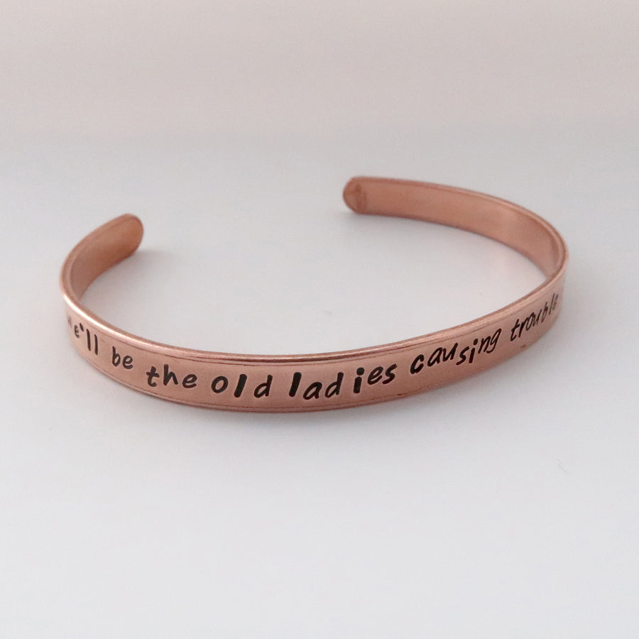 Slim Personalised Copper Cuff Bracelet