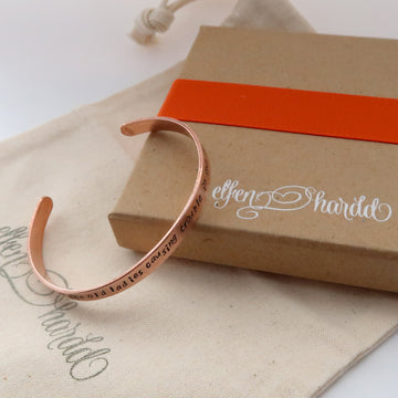 Slim Personalised Copper Cuff Bracelet handmade in wales uk by elfen hardd
